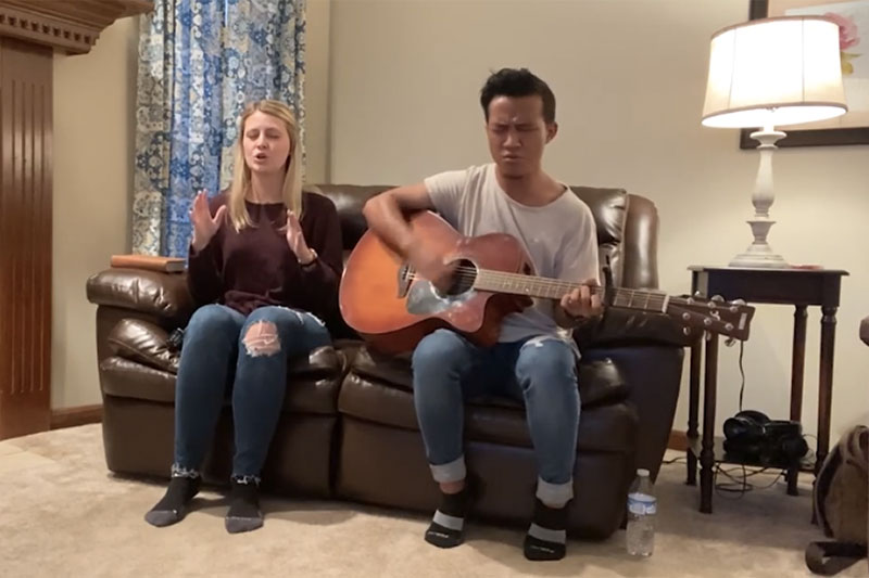 Taylor students leading chapel worship from home over Instagram Live.