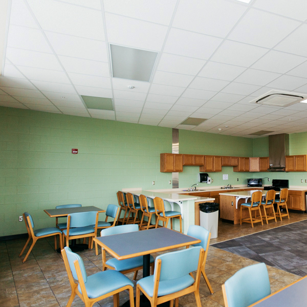 The third floor has a fully-equipped kitchen in the common room.