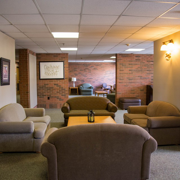 A roomy common area is a great place to meet up with friends.