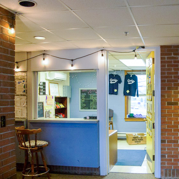 At the front desk, students can buy snacks, get their mail, and access other services.