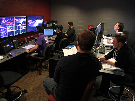 "Students produce ""Taylor Music Live,"" from Taylor's television control room."